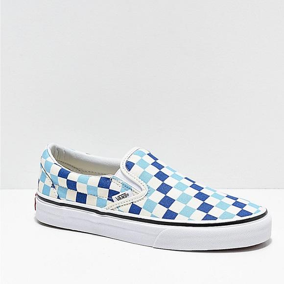 Vans Shoes | Blue Checkers Vans | Poshmark